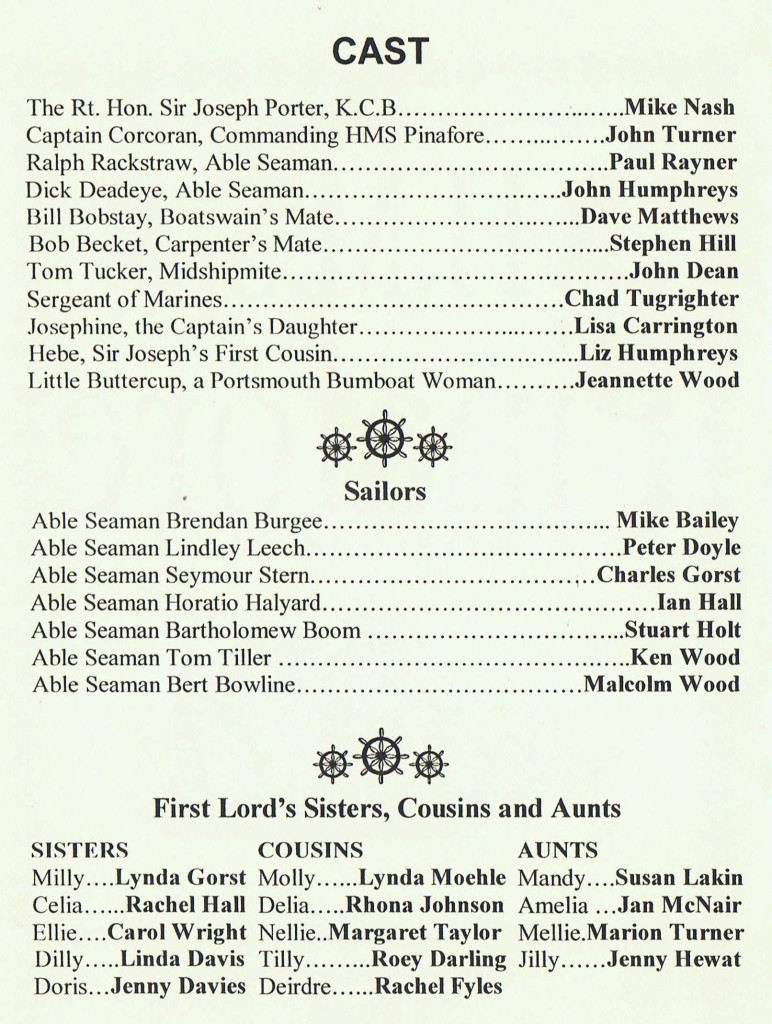 2002 Pinafore cast list