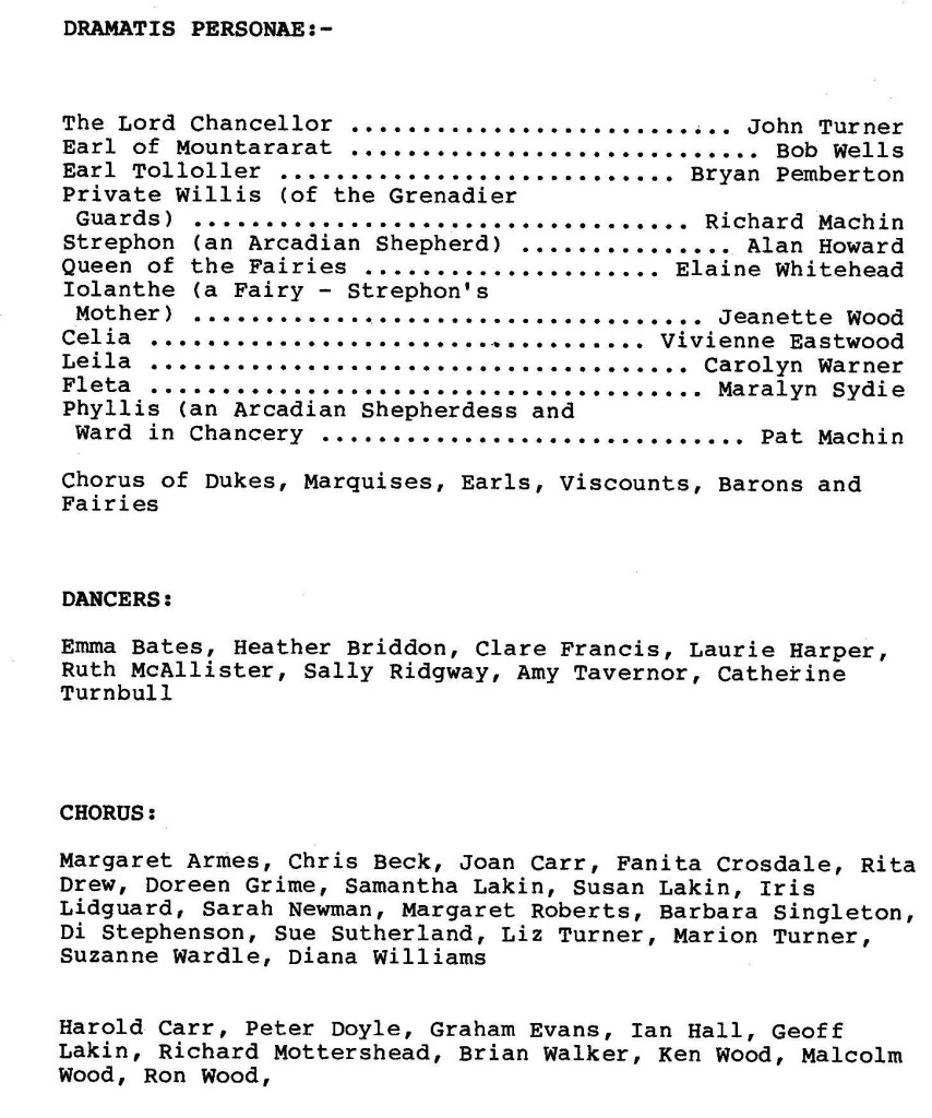 1988 Iolanthe cast list