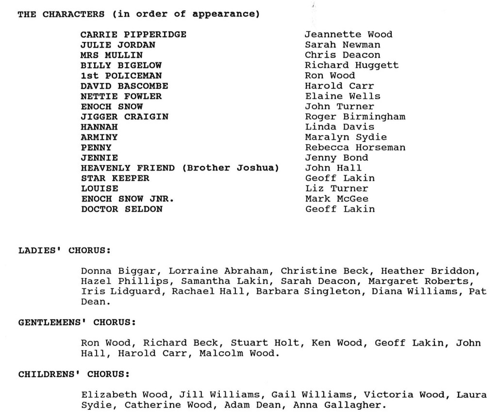 1991 Carousel cast list